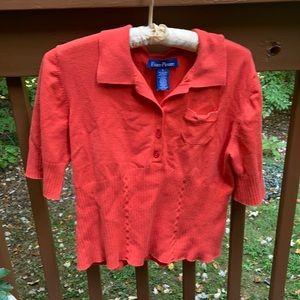 Evan-Picone orange short sleeve sweater